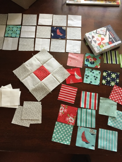 My very first precut project for sharing: A miniquilt project with Bonnie and Camille's Daysail, by Moda.