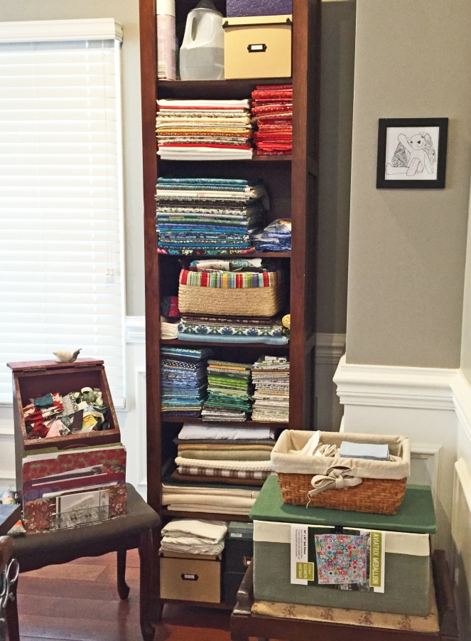 As of January 1, 2015 - this was my fabric stash. Lovingly gathered throughout 20+ years of quilting (and many quite dear to my heart), but frankly, a jumbled collection of unstructured nonsense as I look at it today.