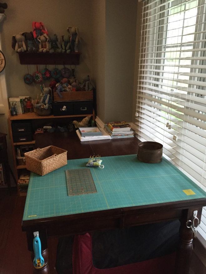 This is my cutting table. Aside from when I am actively working on something, it almost always looks like this, or not far from it at least.