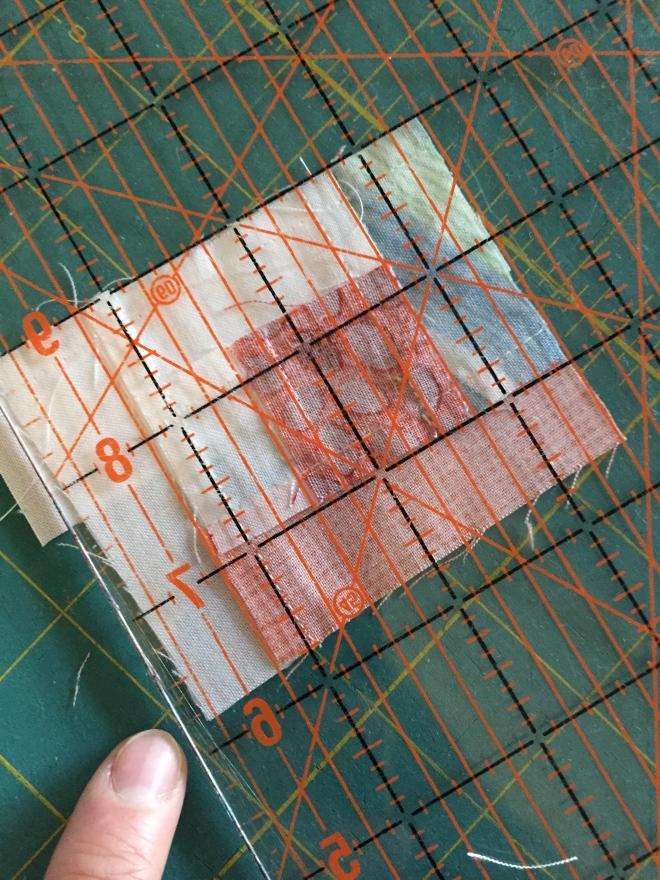 I knew it was straight though, because I cut my strips perpendicular to the straght edge of the block, every time I cut, even if it looked uneven with the other edge of the block.